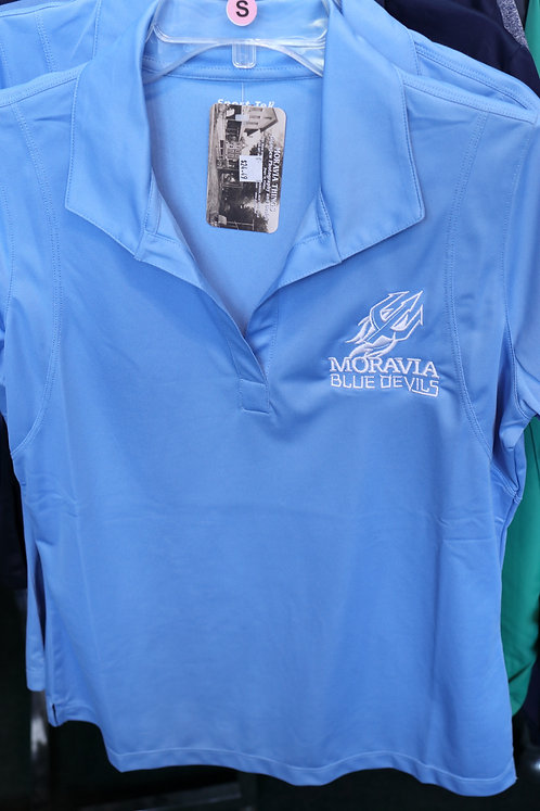 Ladies Wicking Polo with Moravia Blue Devils Fork Design