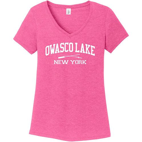 Owasco Lake Rod and Paddle Ladies V-Neck T-Shirt Discontinued style/colors
