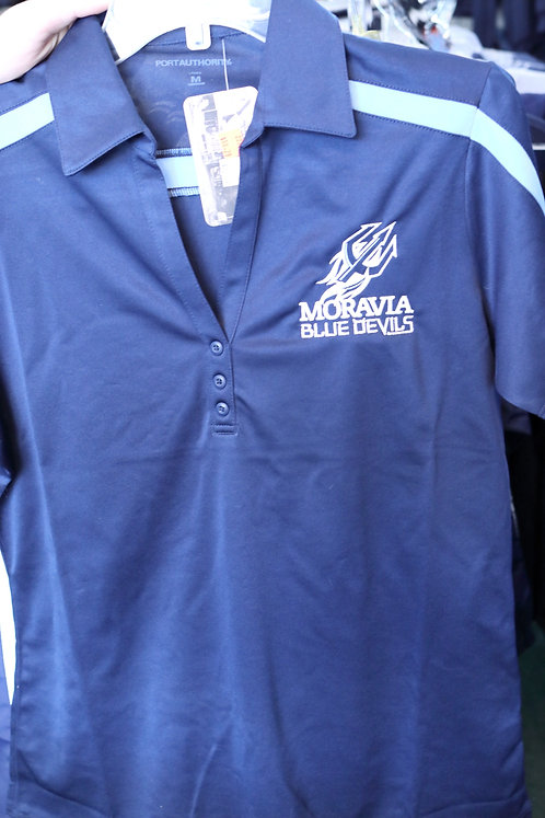Ladies Performance Colorblock Stripe Polo with Moravia Blue Devils Fork design