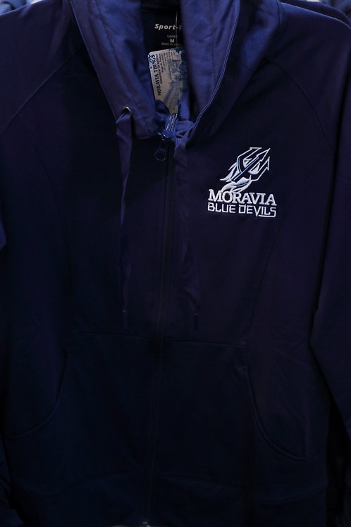 Ladies Wicking Stretch Full-Zip Jacket with Moravia Blue Devils Fork design