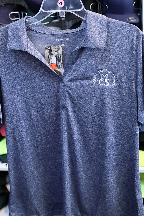 Ladies Heather Contender Polo with Moravia Central School design
