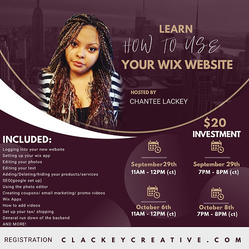 LEARN HOW TO EDIT YOUR WIX WEBSITE OCT 6TH @7PM ct