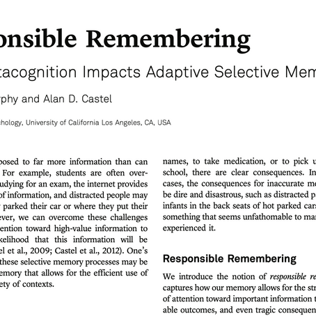 Responsible Remembering: How Metacognition Impacts Adaptive Selective Memory