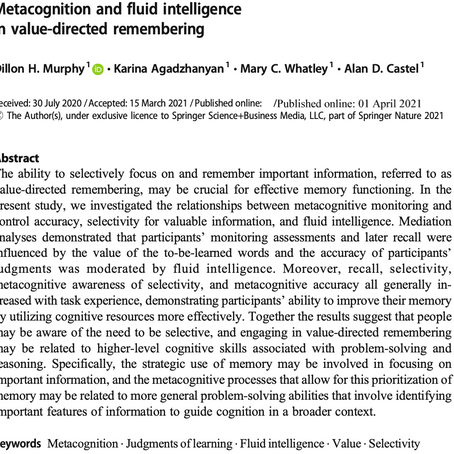Metacognition and fluid intelligence in value-directed remembering