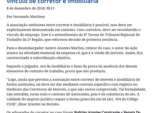 Vínculo de emprego corretor de imóveis  e diferença tabela CRECI 4% comissão