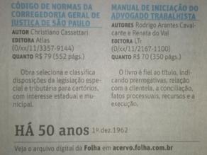 """Indicação da Obra """"Manual de Iniciação..."""" no Jornal Folha de São Paulo"""