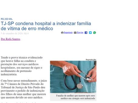 TJ-SP condena hospital a indenizar família de vítima de erro médico.