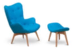 Blue color armchair and small chair for