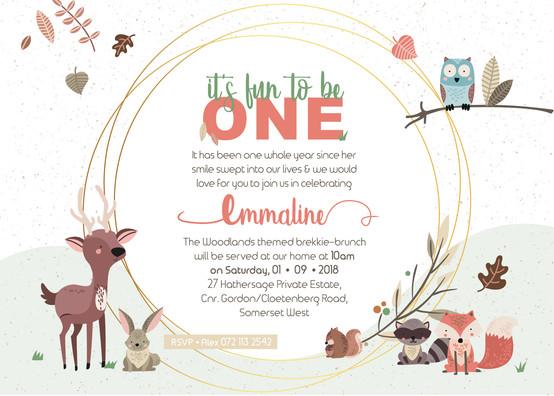 Emmaline's First Birthday Invitation