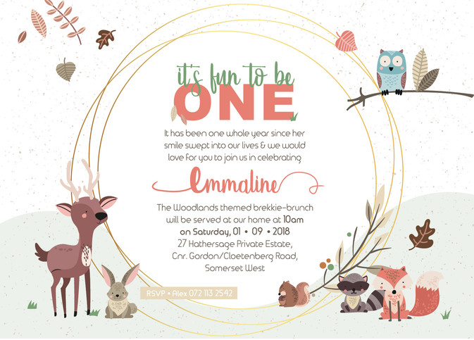 Emmaline's First Birthday Invitation