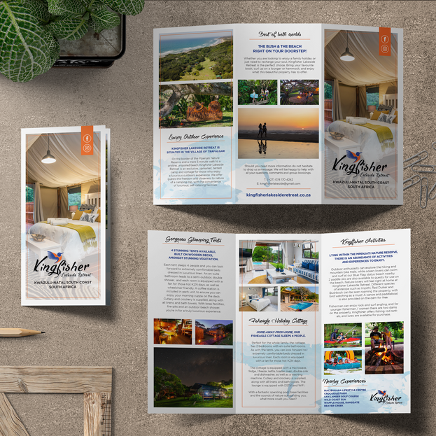 Kingfisher Lakeside Retreat Trifold Flyer Design