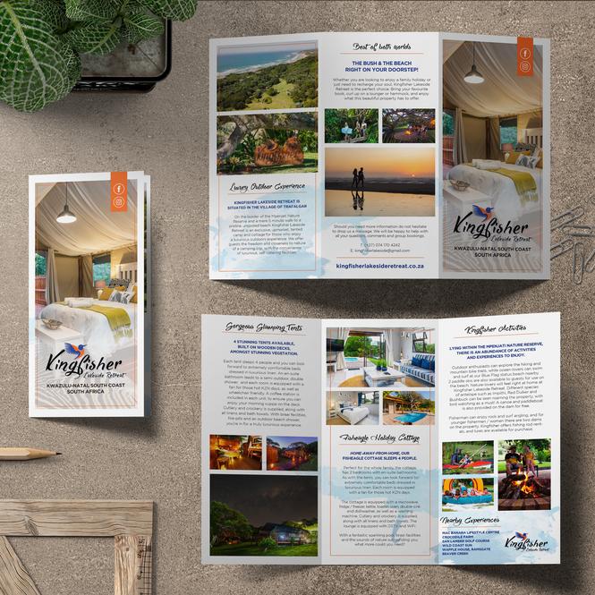 Kingfisher Lakeside Retreat Trifold Flyer Design