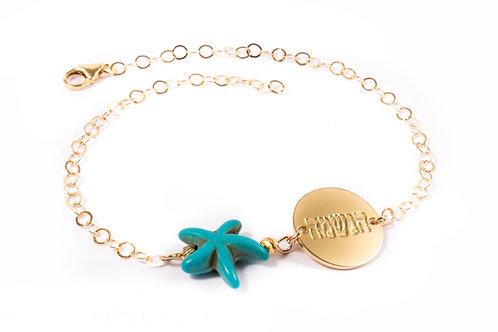 צמיד רגל כוכב ים בגוון זהב