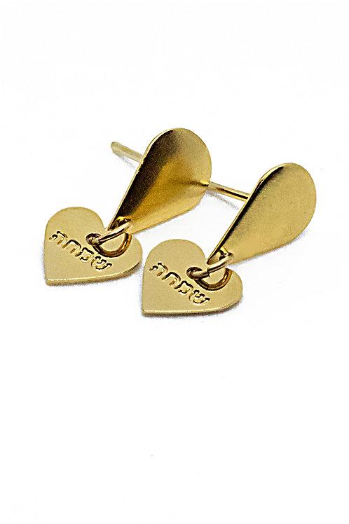 עגילי לב - כסף או ציפוי זהב