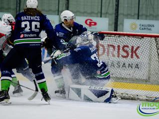Mogo/LSPA pirmo reizi sezonā uzvar Liepājas hokejistus