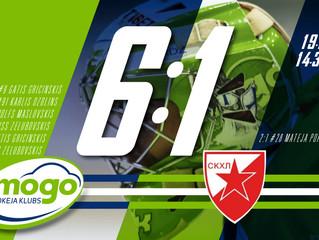 HK Mogo Kontinentālā kausa otrajā spēlē pārliecinoši uzvarBelgradas Crvena Zvezda