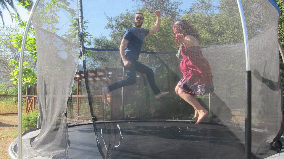 Having fun on the trampoline