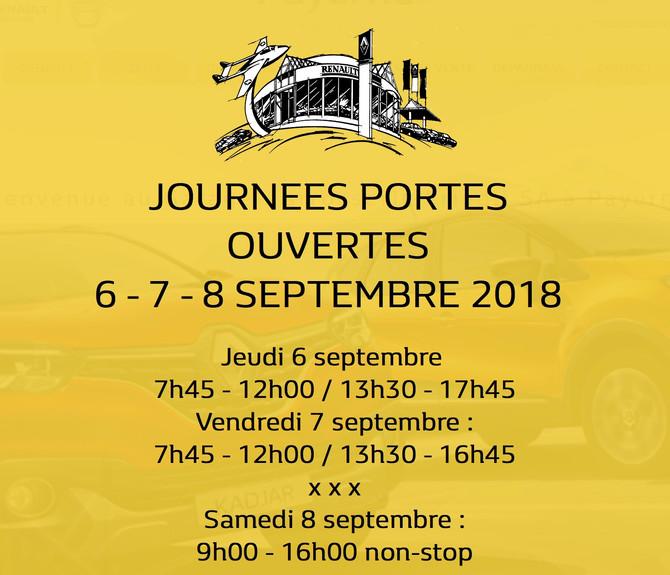 Portes ouvertes 6-7-8 septembre 2018