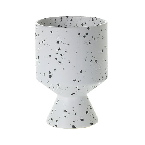 White Speckled De Vil Pot 6""