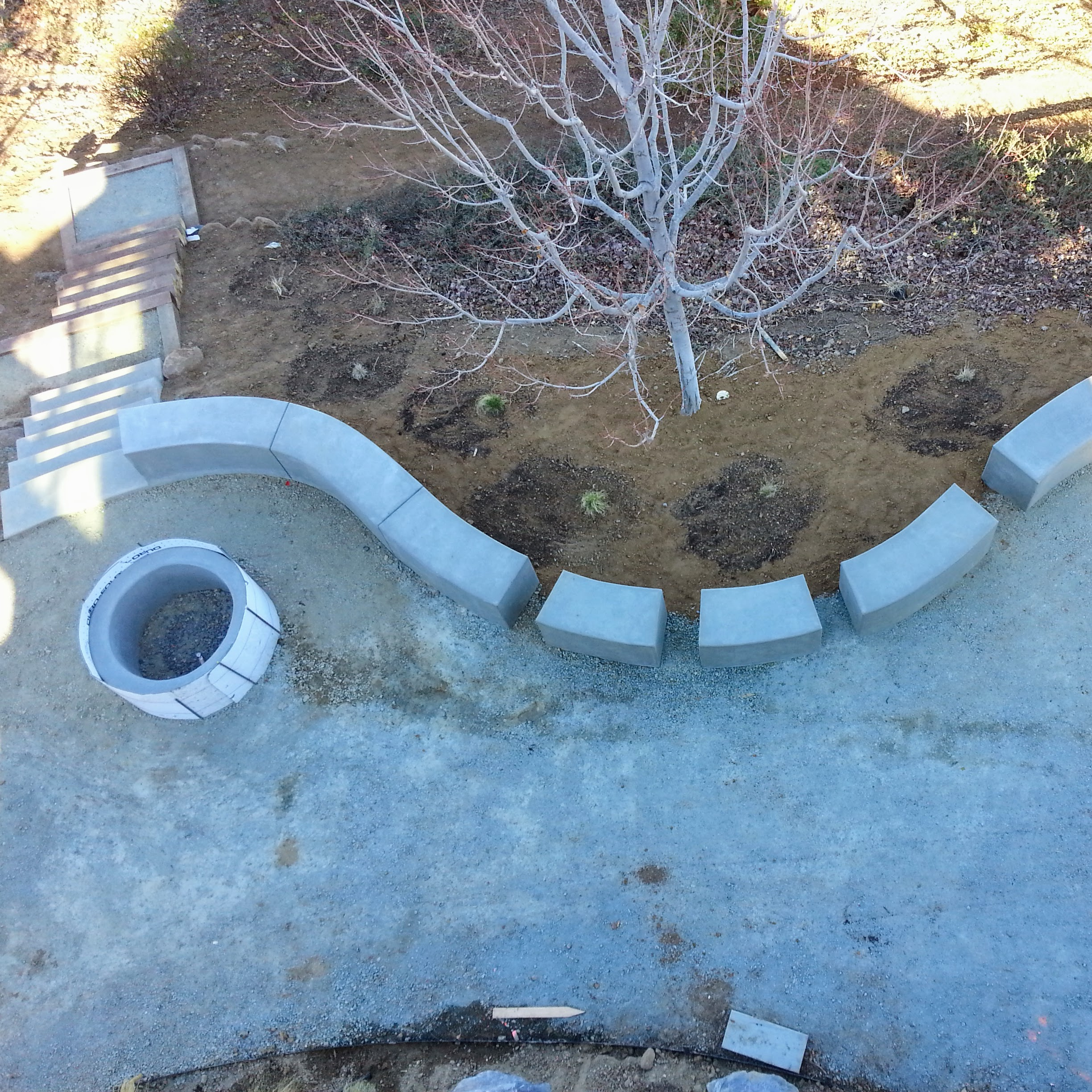 Los Gatos Modern Landscape Concrete Fire Pit Progress 2