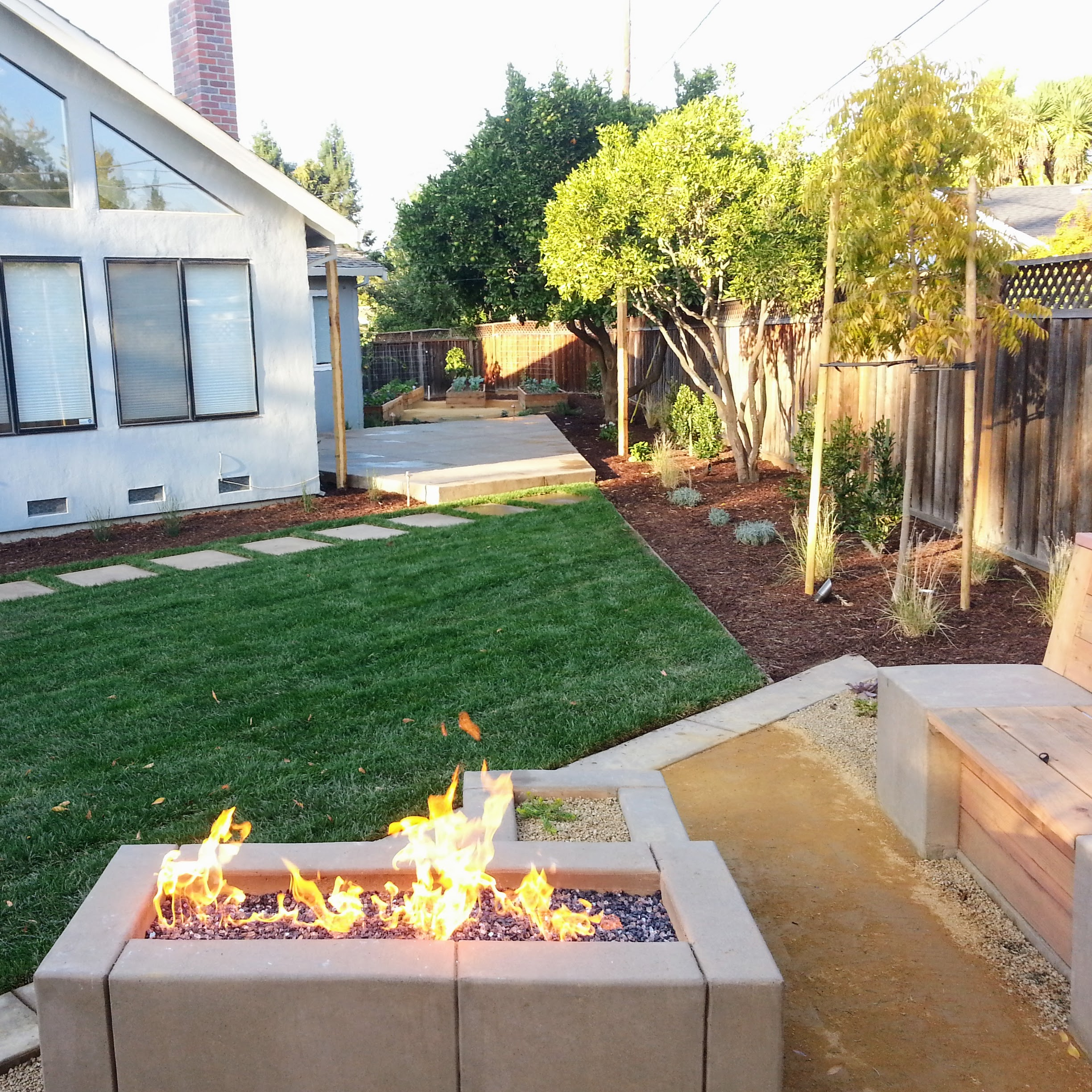 Mountain View Landscape Fire Pit Seating Area