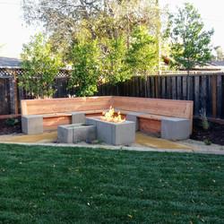 Mountain View Landscape Fire Pit Storage Bench