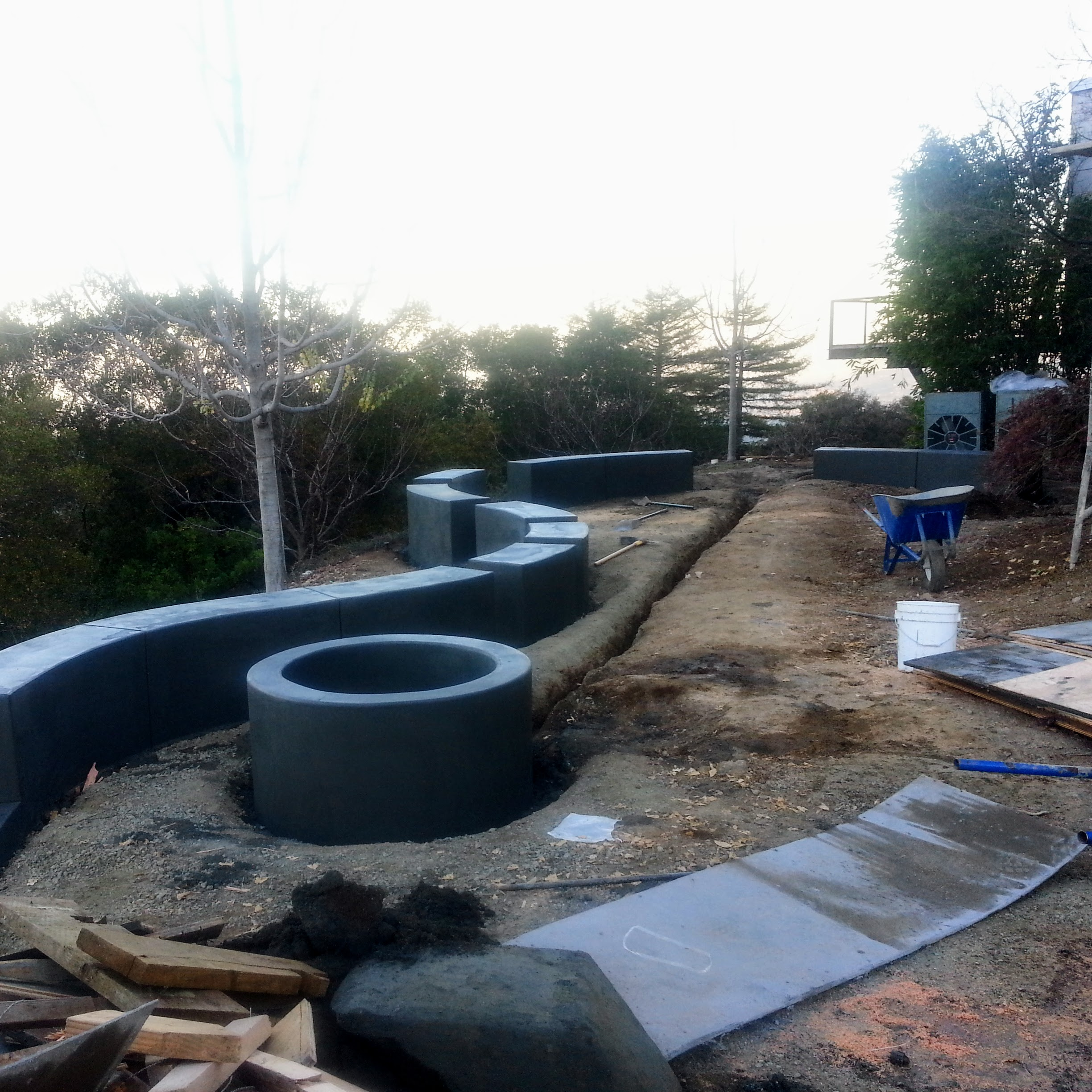 Los Gatos Modern Landscape Concrete Fire Pit Progress 1