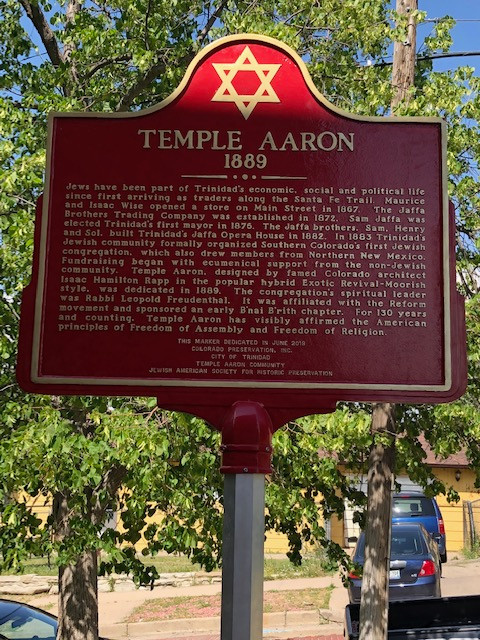 The historic marker dedicated by the Jewish American Society for Historic Preservation