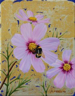 Pink Cosmos Trio & Bumblebee