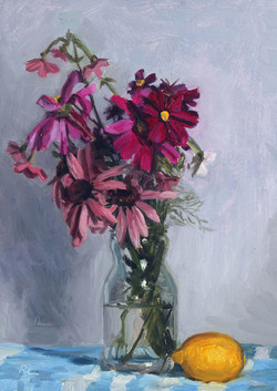 Cosmos and Echinacea in a Glass Jar