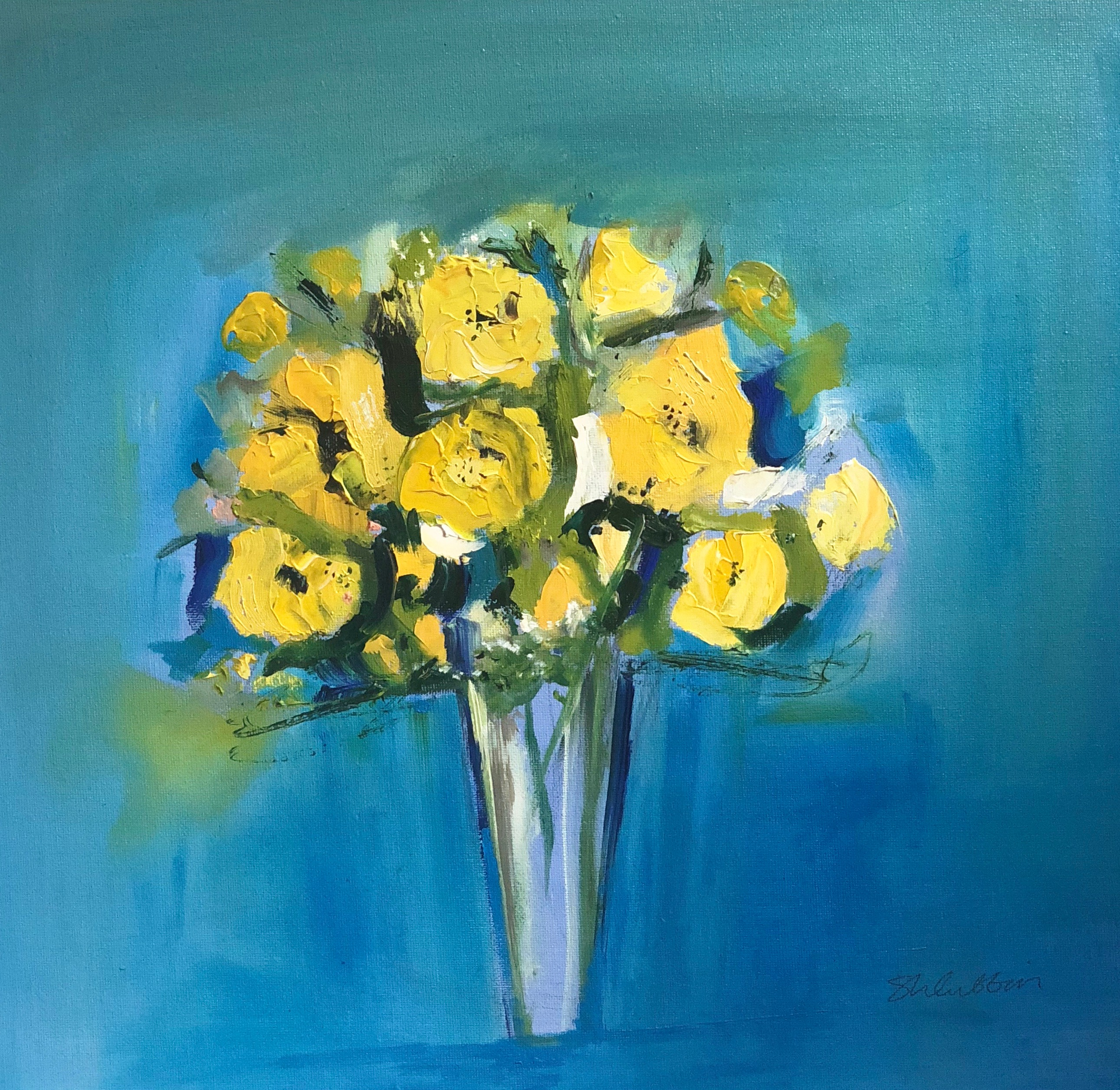 Yellow Posy Against Blue