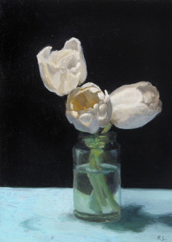 White Tulips in a Glass Jar