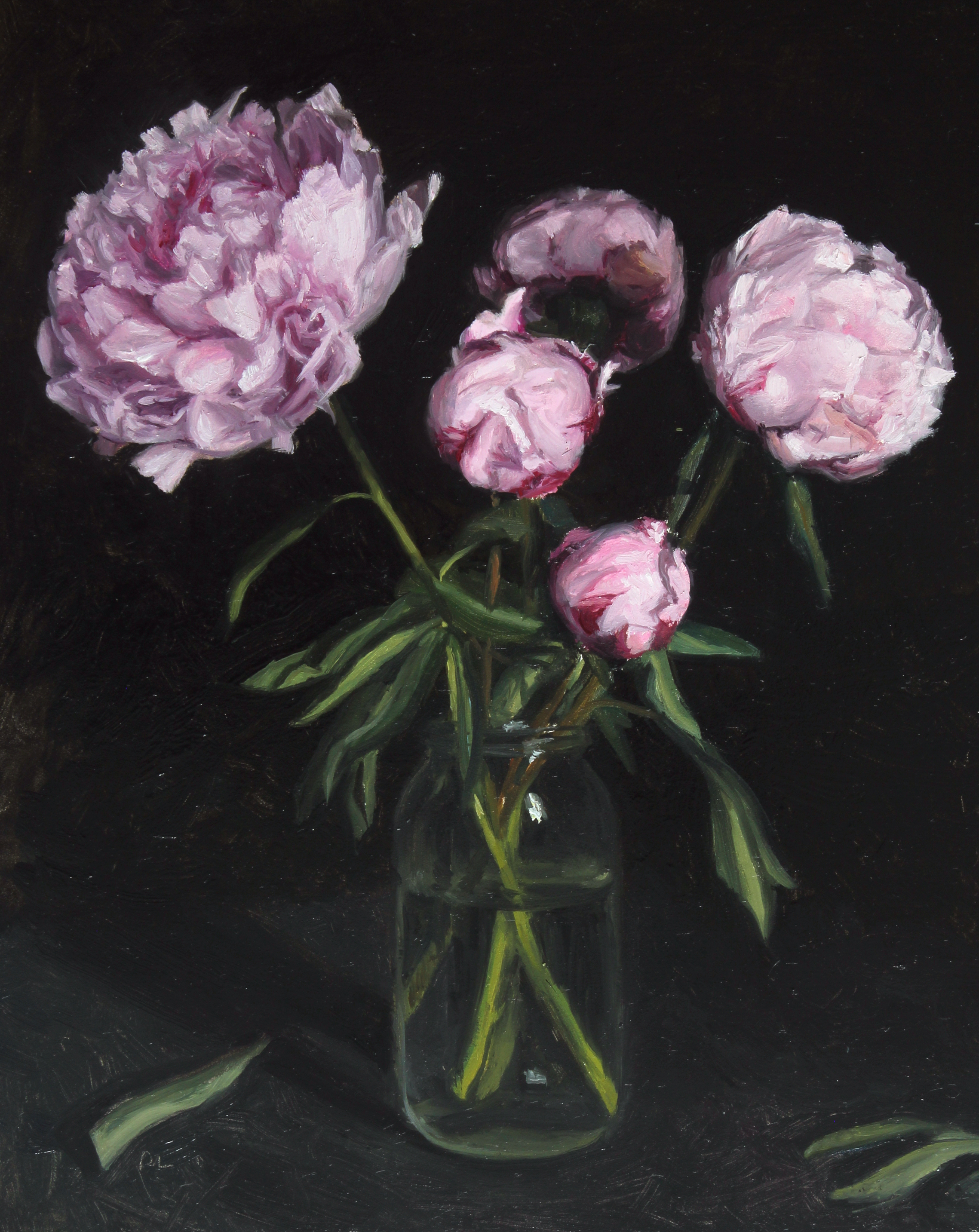 Pink Peonies in a Glass Jar
