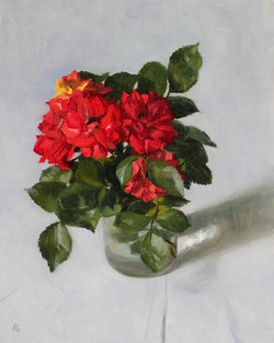 Red Roses in a Glass Jar