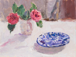 Blue Patterned Plate with Camellias