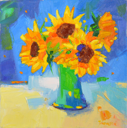 Green Vase with Sunflowers