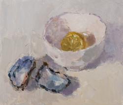 Lemon Half and Mussel Shells