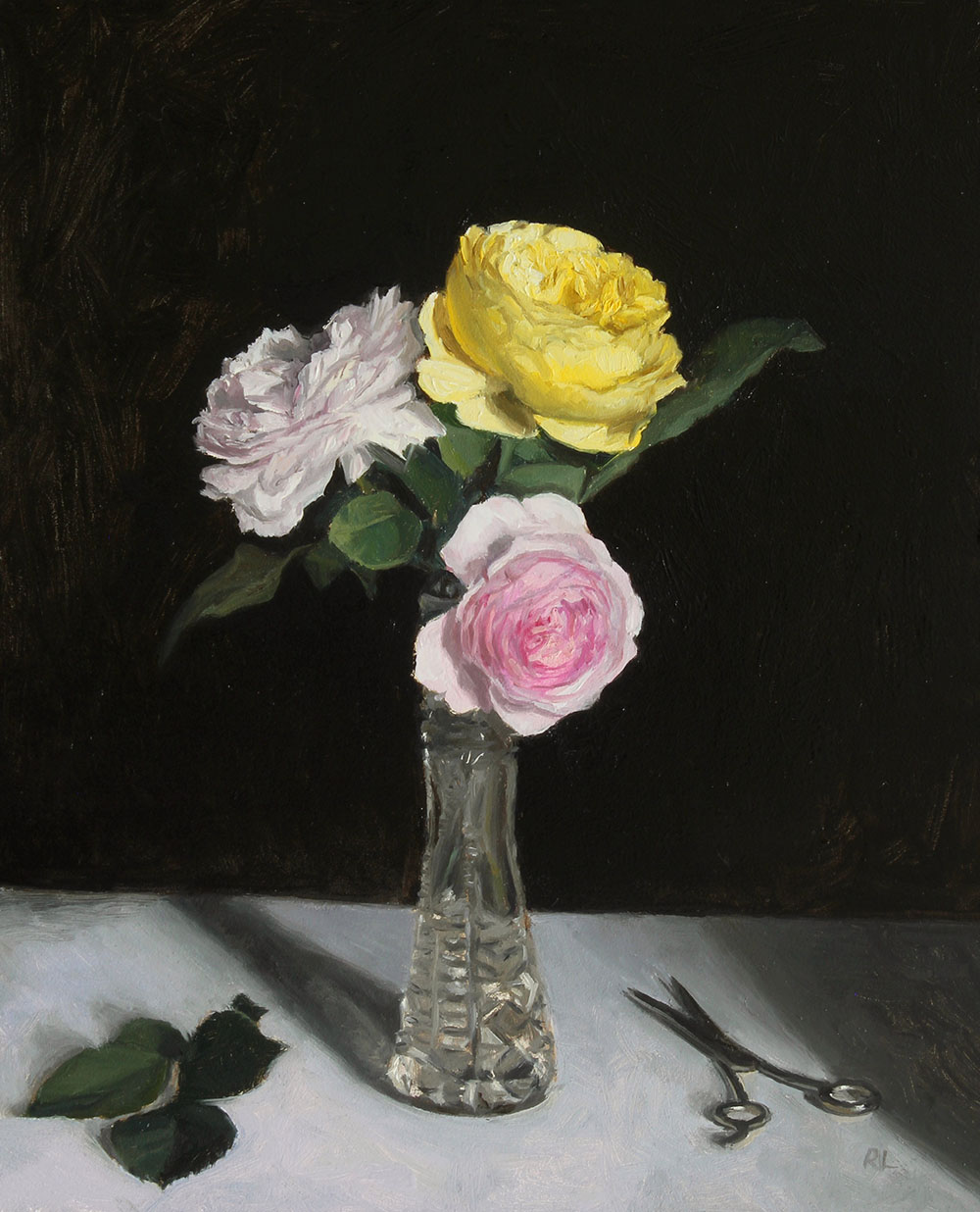 Roses in a Cut Glass Vase