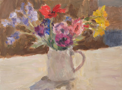 Spring Flowers in a White Jug