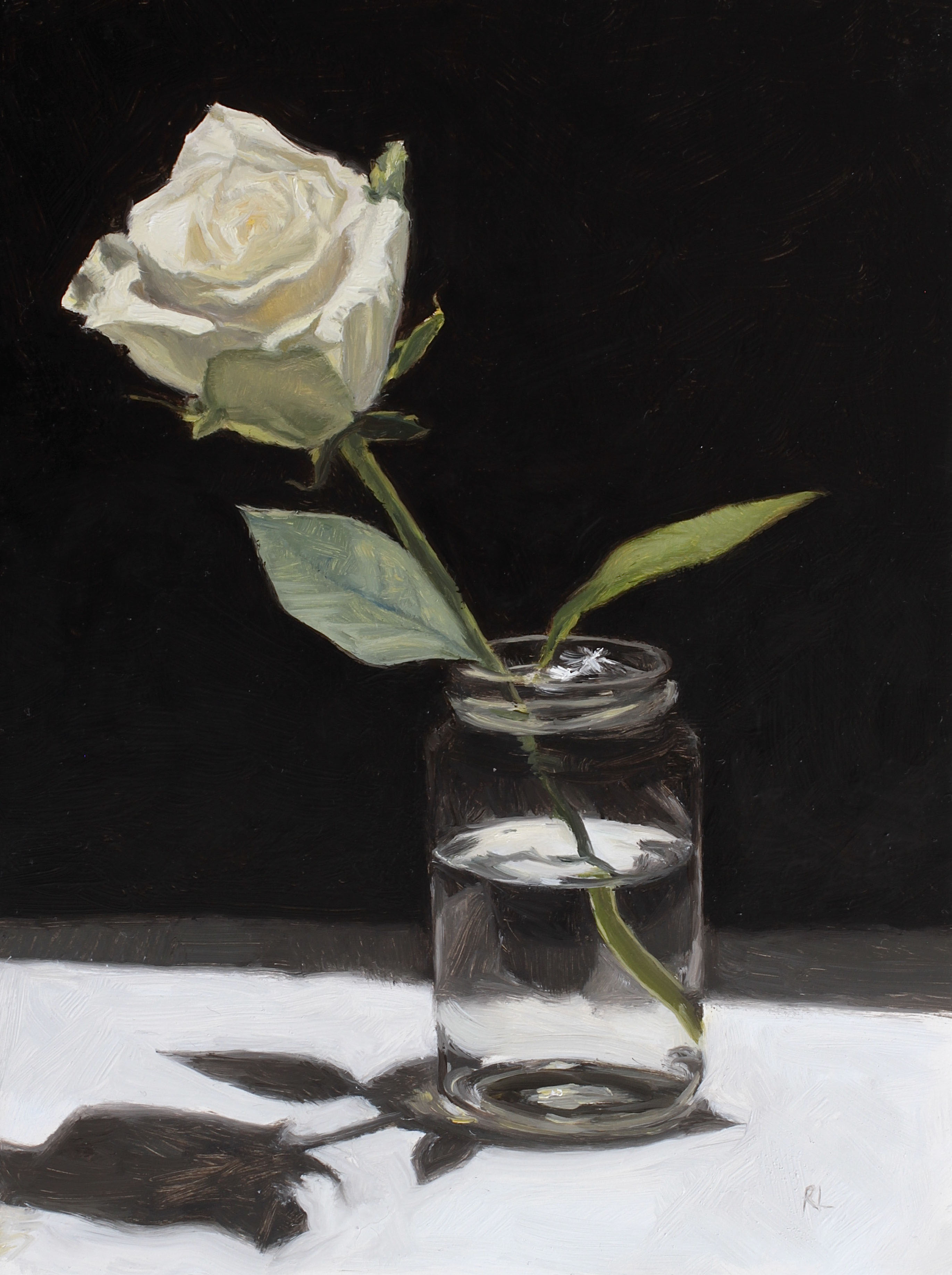 White Rose in a Glass Jar