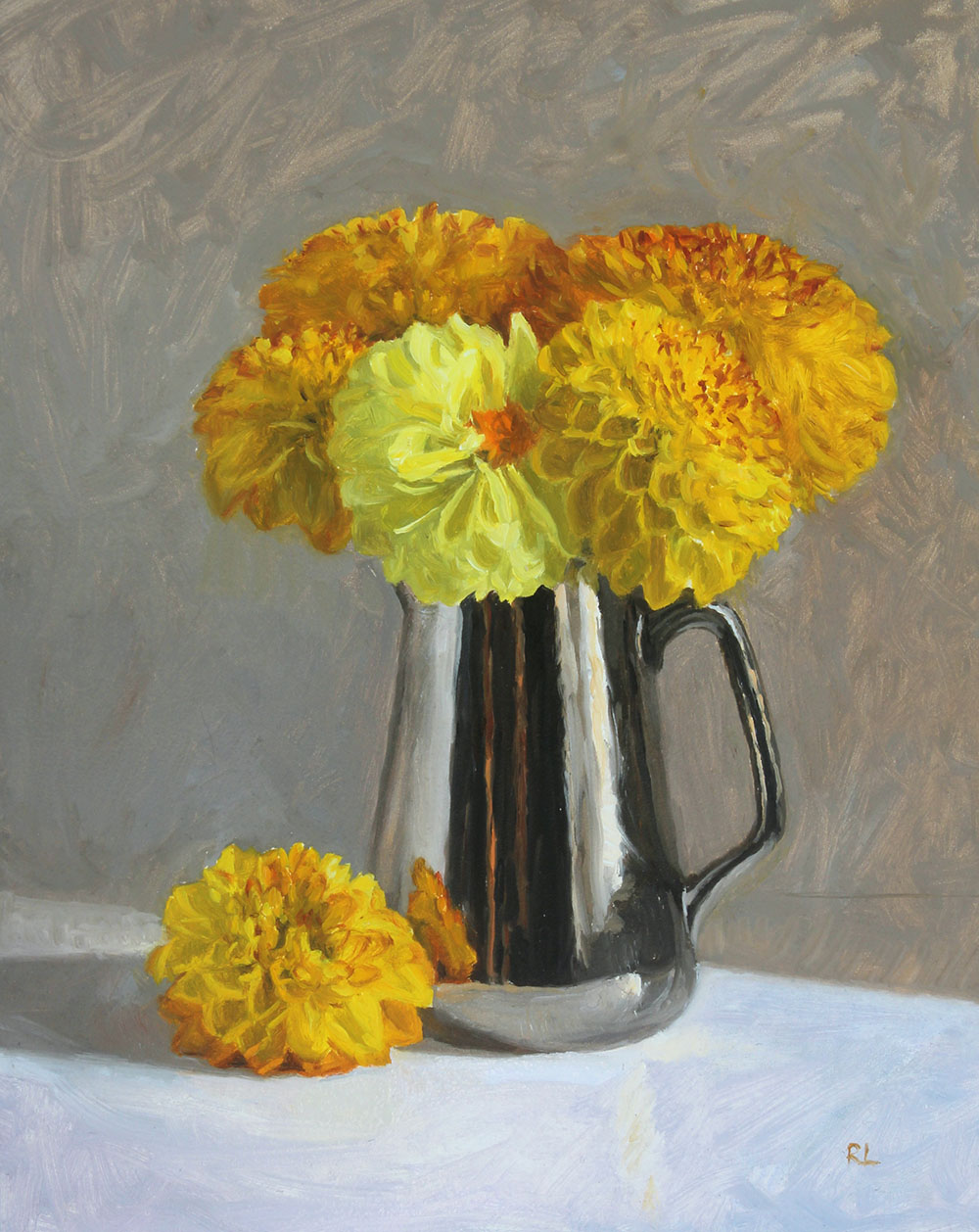 Yellow Dahlias in a Silver Lustre Jug