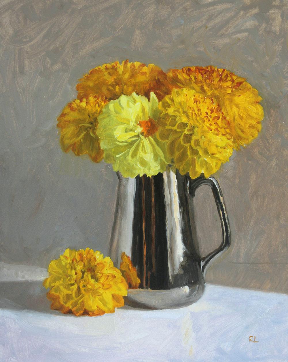 Yellow Dahlias in a Silver Lustre Jug