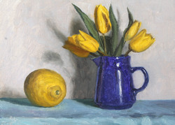 Blue Jug with tulips and lemon