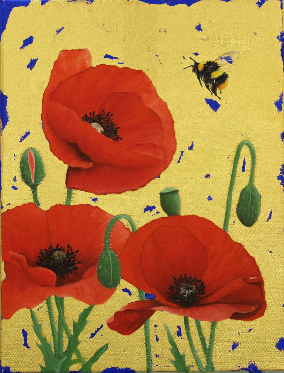 Early Bumblebee & Poppies