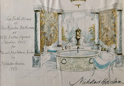 The Bath Alcove of the Master Bathroom at 113 Eaton Square London for Mr and Mrs Nemir Kirdar, 1993