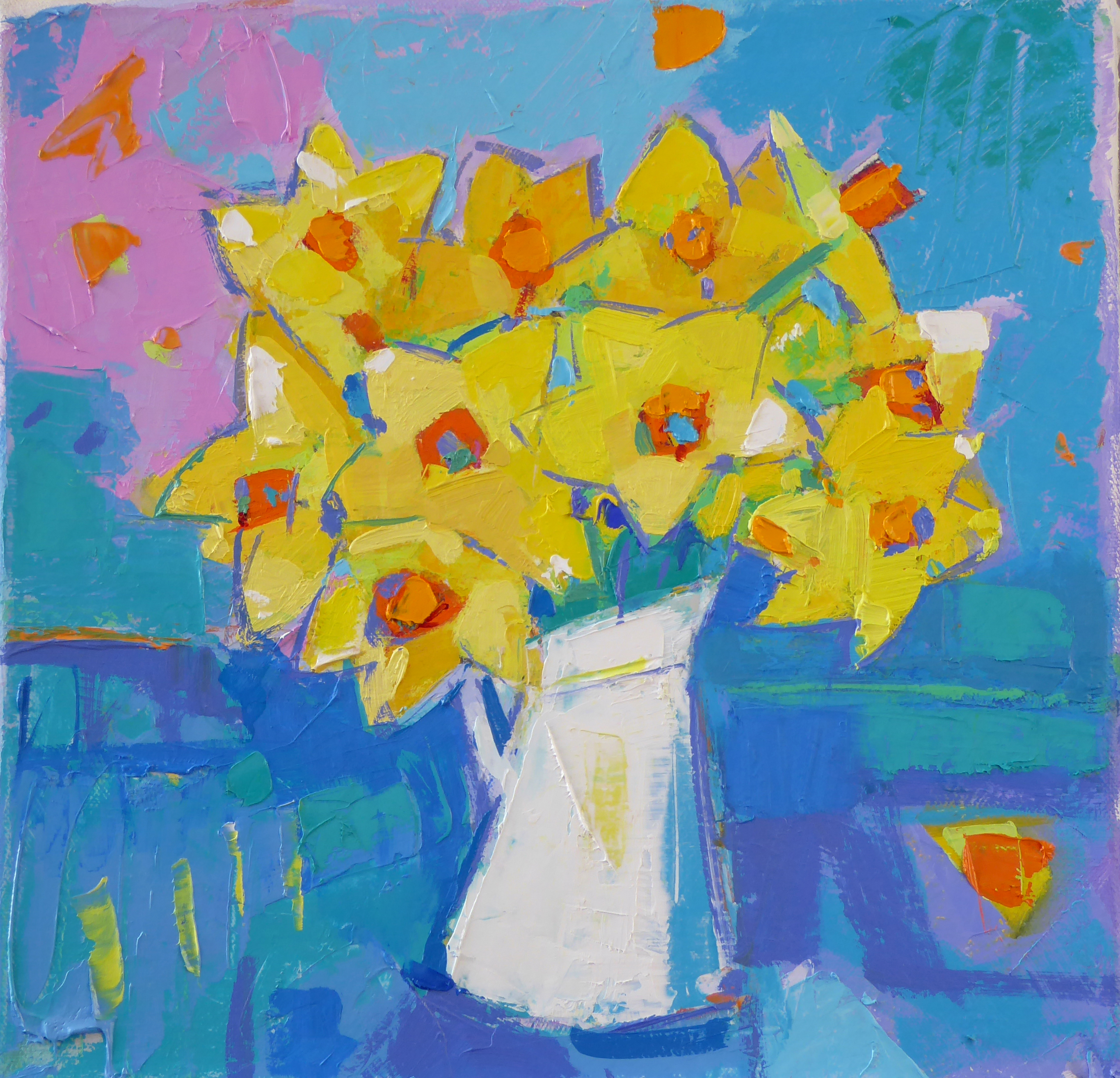 Daffodils in a White Jug