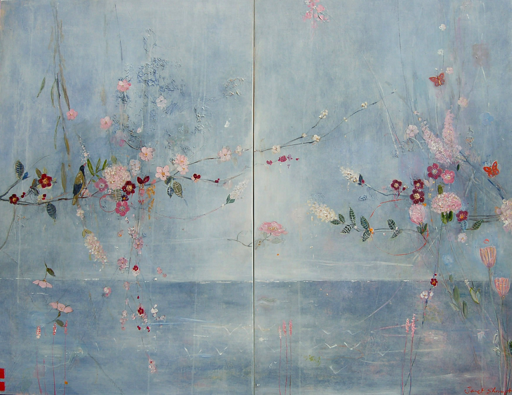 Sea View Floral (diptych)