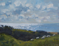Sparkling sea and sheep grazing
