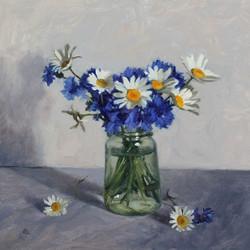 Cornflowers and Ox Eye Daisies