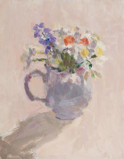 Spring Flowers in a Blue Jug 2